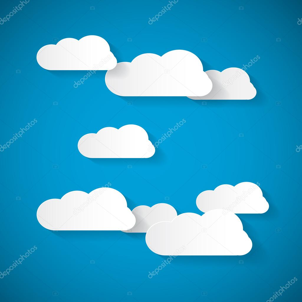 Vector Clouds Cut From Paper on Blue Sky Background
