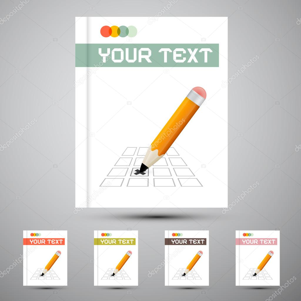 Plantilla de diseño de tapa de vector folleto con lápiz Marque ...