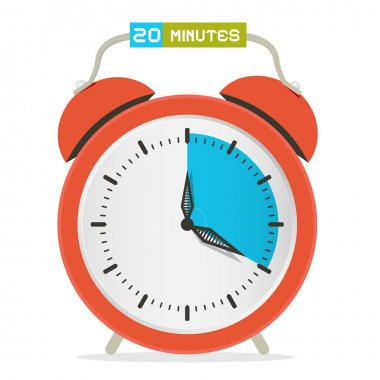 20 - Twenty Minutes Stop Watch - Alarm Clock Vector Illustration