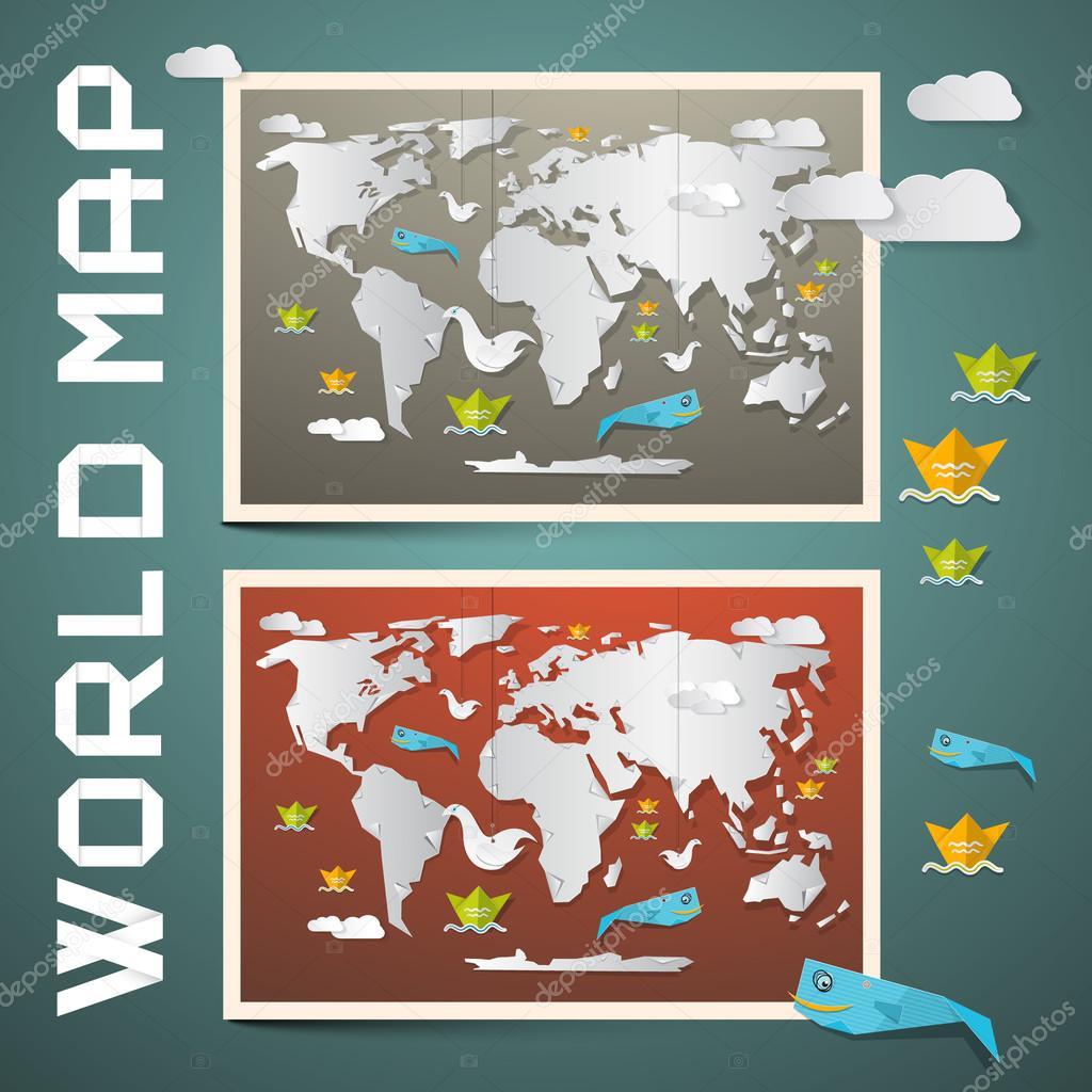 World Maps - Paper Vector Set
