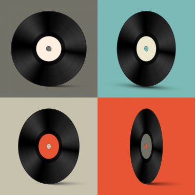 Retro Vector Vinyl Records Set Illustration