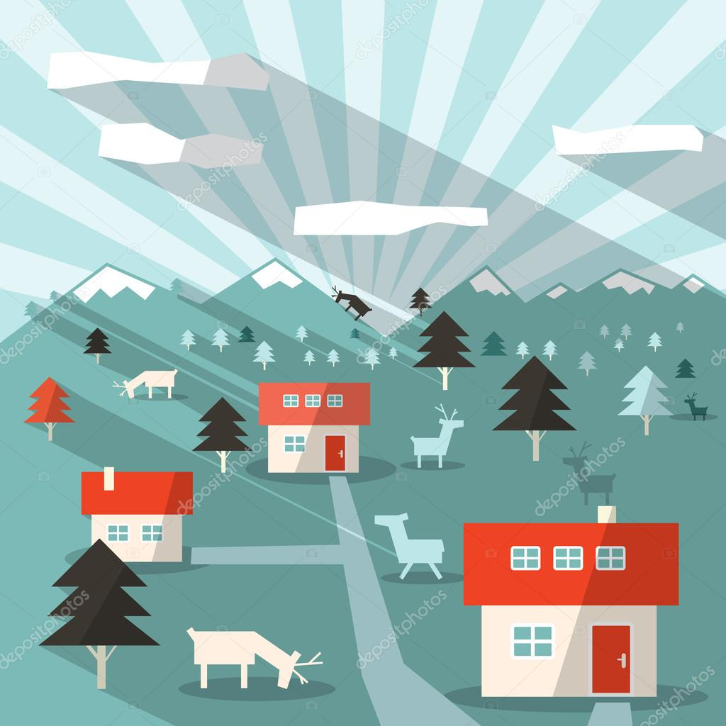 Landscape Illustration with Houses, Deers, Mountains and Forest