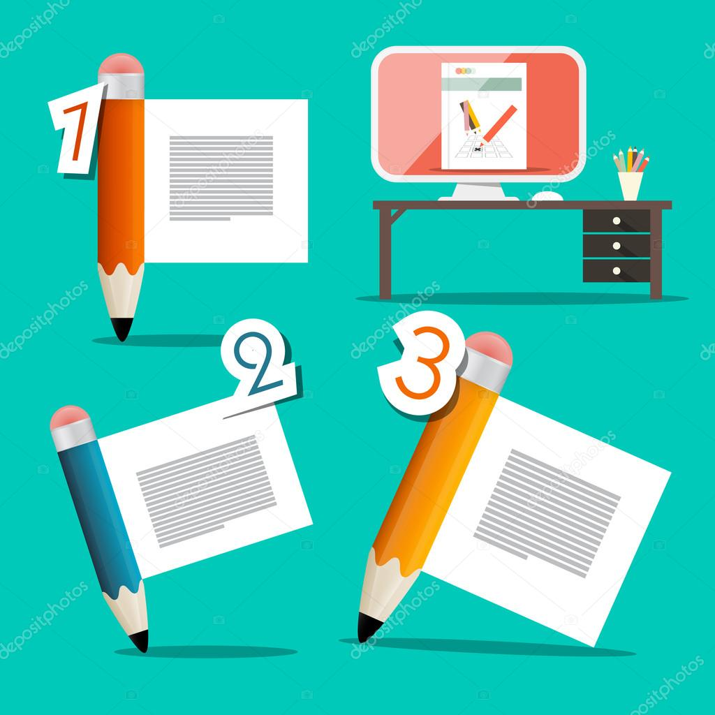 Three Steps Vector Tutorial Infographics Design with Pencils and Table with Computer