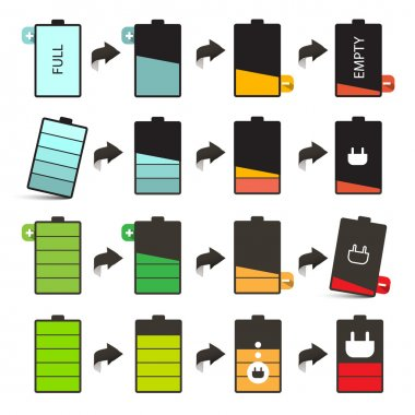 Battery Life Vector Icons Set Isolated on White Background