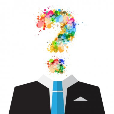 Vector Man in Suit with Colorful Splashes Question Mark Symbol Instead of Head Isolated on White Background