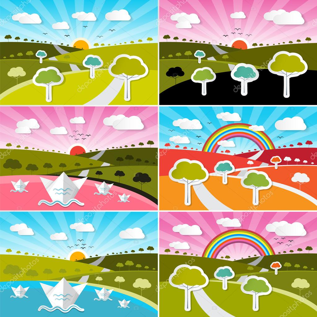 Landscape Field Set - Flat Design Vector Nature Illustration with Paper Trees and Sky with Rainbow. Spring, Summer and Autumn Scene.