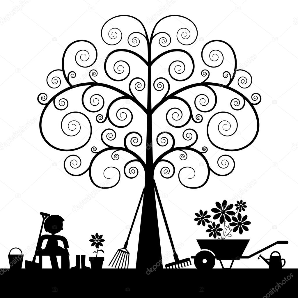 Tree Silhouette with Gardening Tools and Sitting Man Vector Illustration