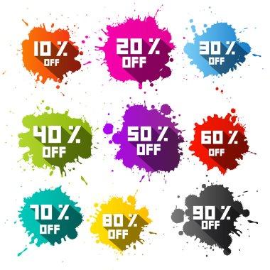 Colorful Vector Discount Sale Blots - Splashes Set clip art vector