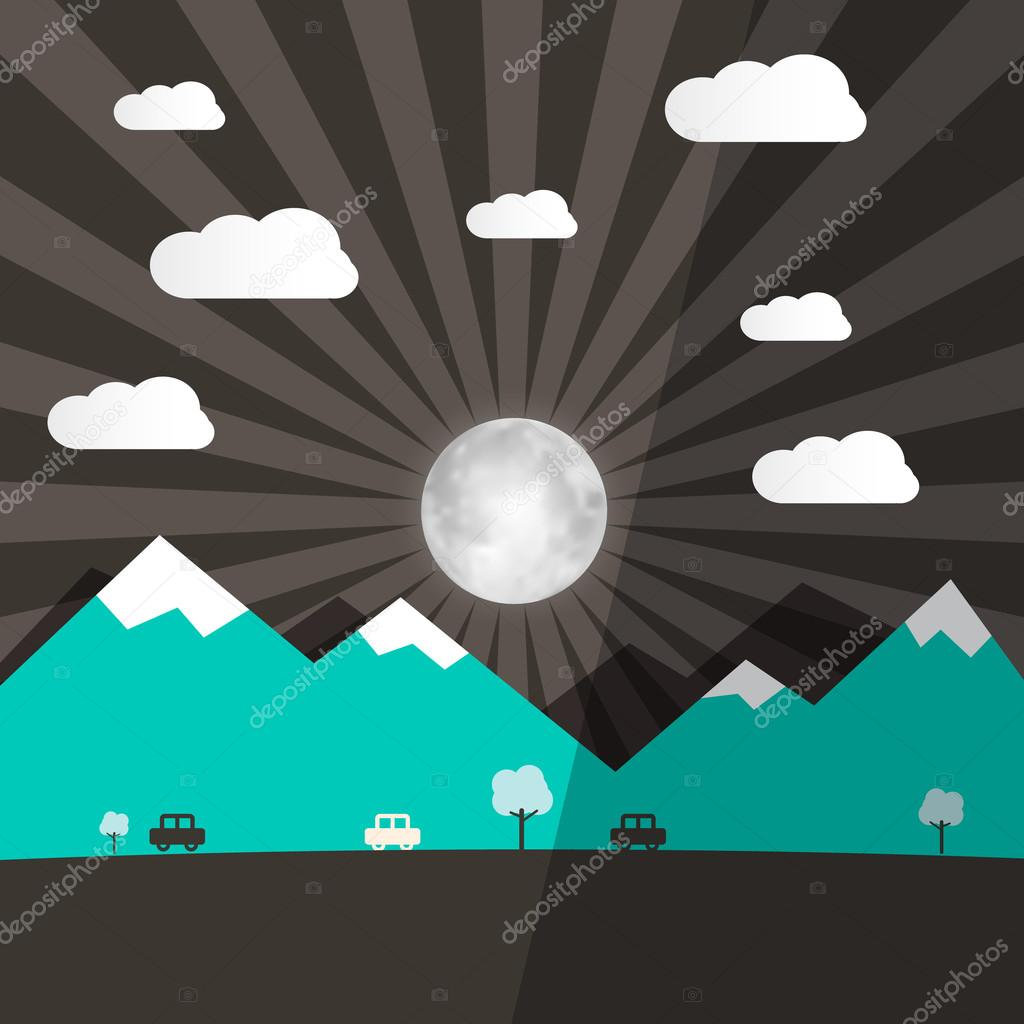 Night Landscape with Full Moon - Mountains  and Road with Cars