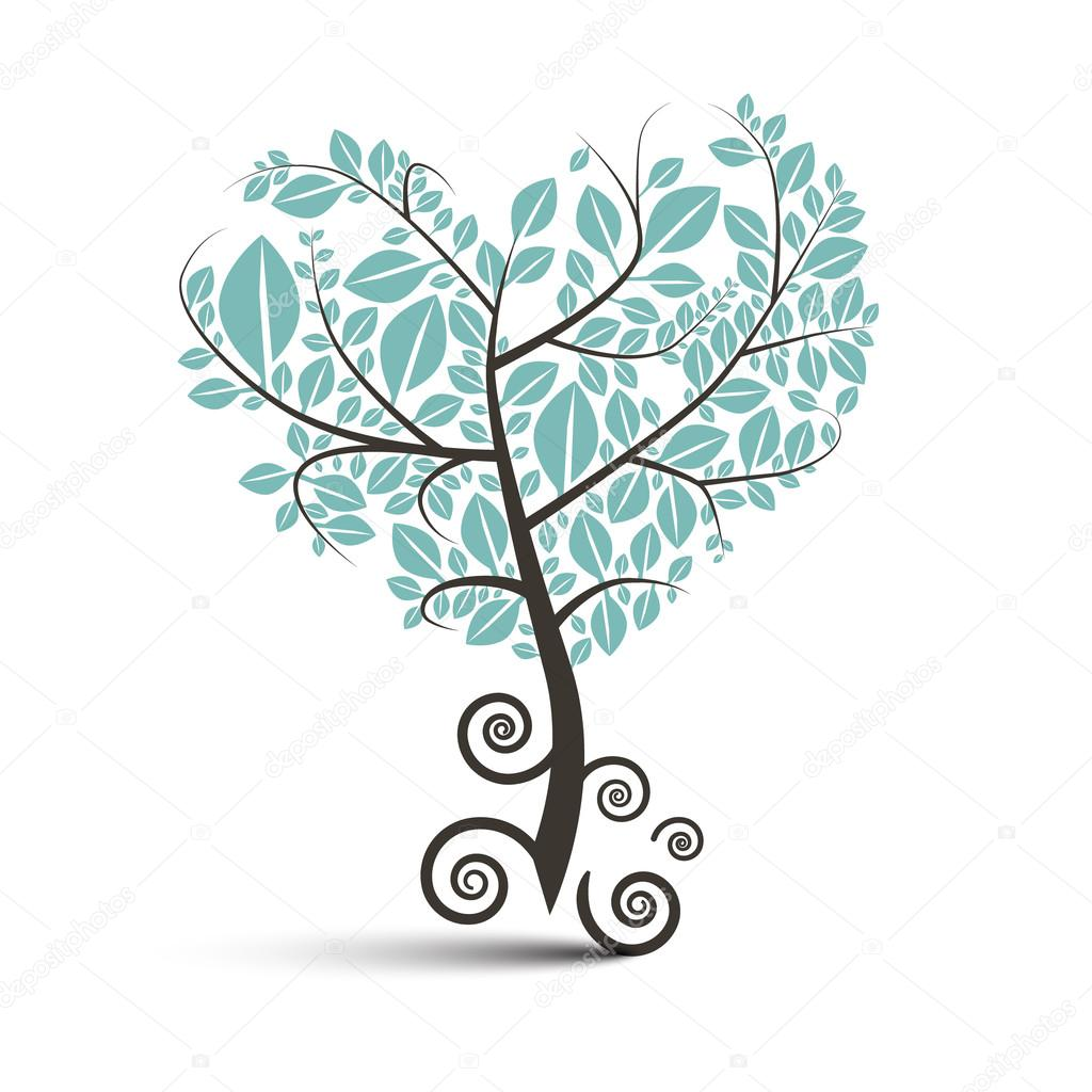 Heart Shaped Tree With Curled Roots Vector Illustration Isolated On