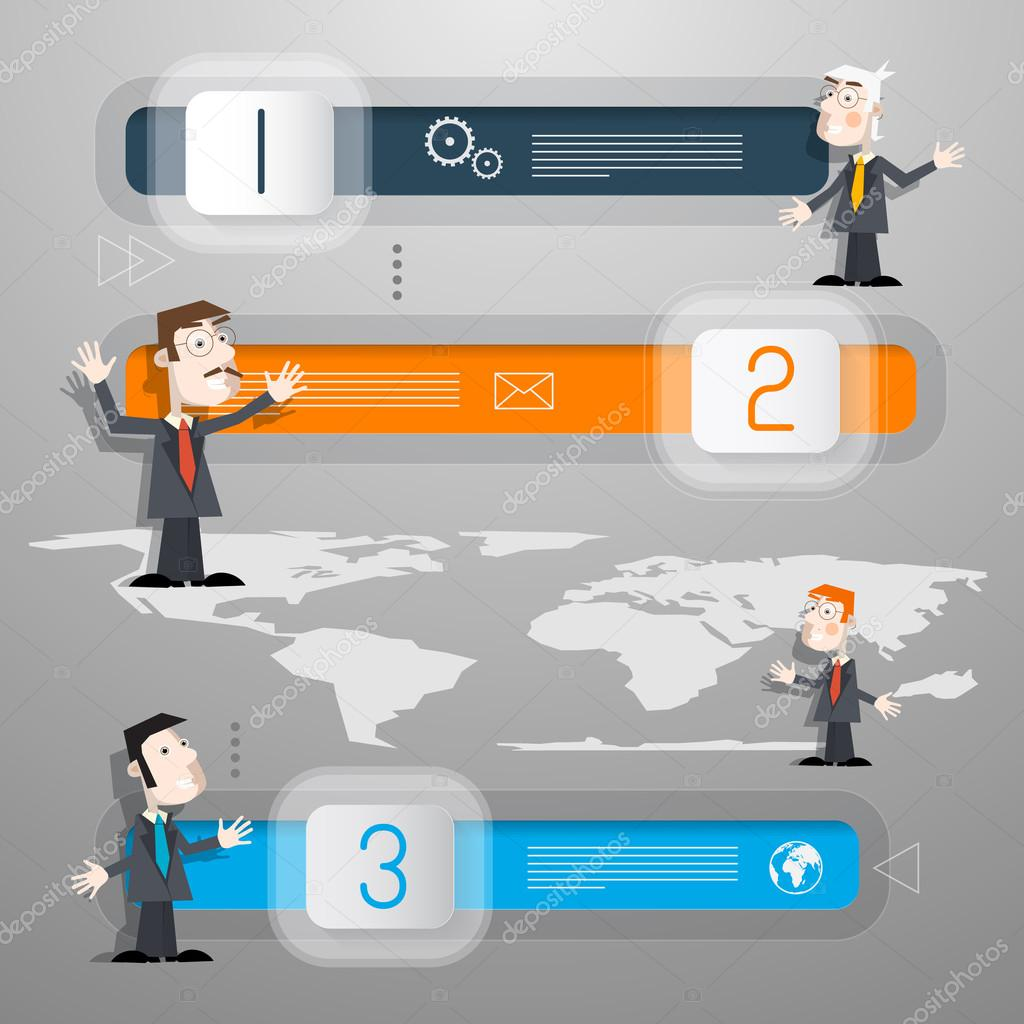 Progress steps for tutorial infographics with men businessmen or progress steps for tutorial infographics with men businessmen or teachers and world map vector by mejn gumiabroncs Images