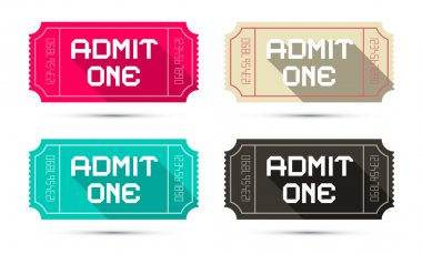 Admit One Tickets Set - Retro Vector Illustration Isolated on White Background