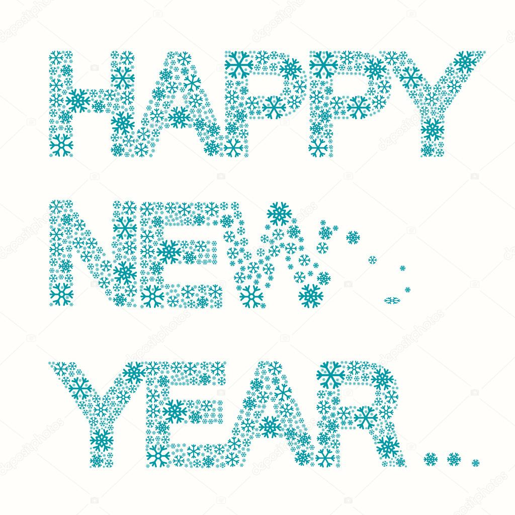 happy new year title vector snowflakes slogan isolated on white background stock vector