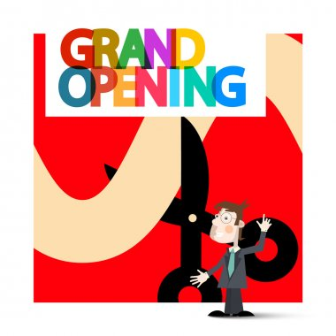 Grand Opening Retro Vector with Business Man on Red Background