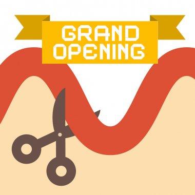 Grand Opening Flat Design Retro Vector Illustration