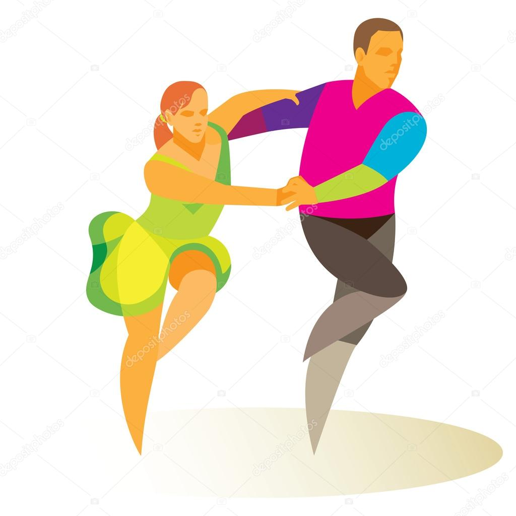 Young couple dancing jive