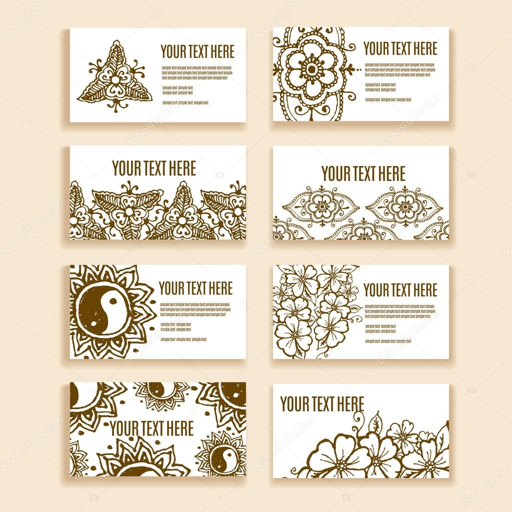 Vintage ornament design business card collection with floral texture ...