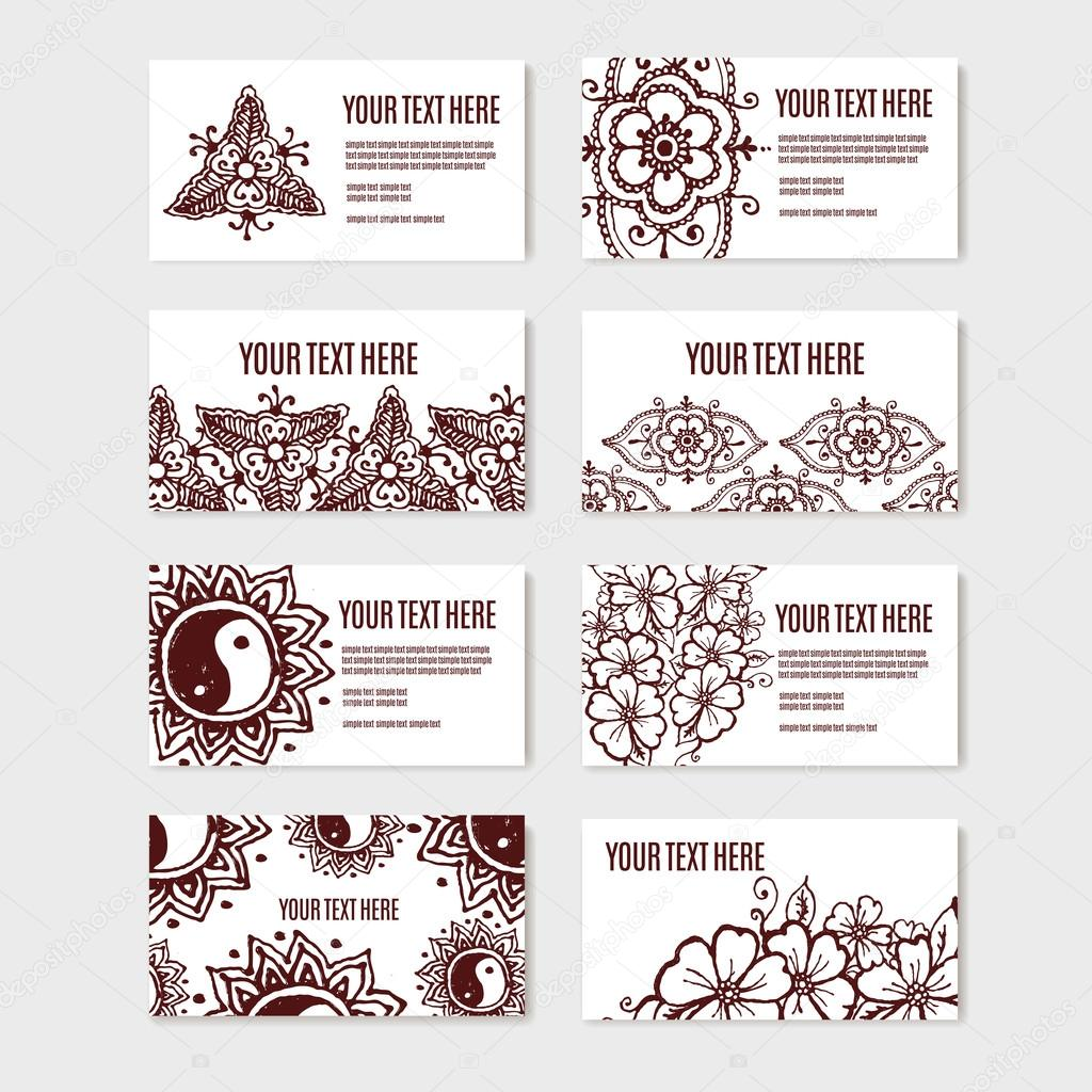 Vintage ornament design business card collection with floral texture vintage ornament design business card collection with floral texture eps 10 vector pattern set in oriental style mehendi henna tattoo vector by colourmoves