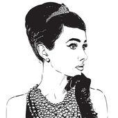 Krásná retro žena. Kopírovat prostoru. V malé černé šaty s rukavice