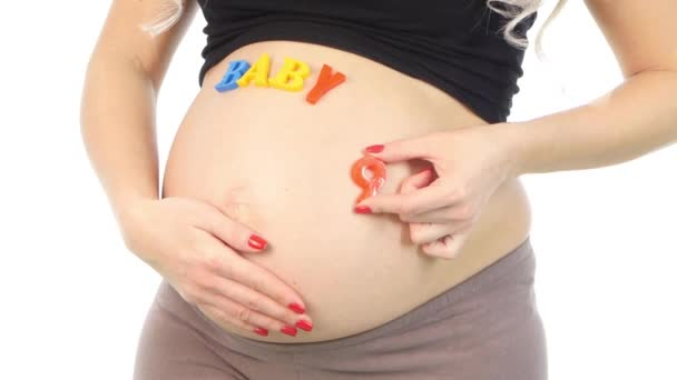 Pregnant woman with baby letters, white, closeup