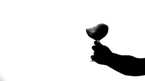 Transparentní sklo červené víno, bílé, silueta