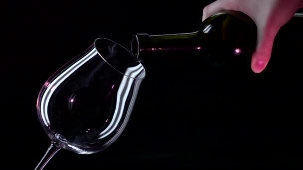 Lahve, skleněné s červeným vínem, černá, closeup, slowmotion