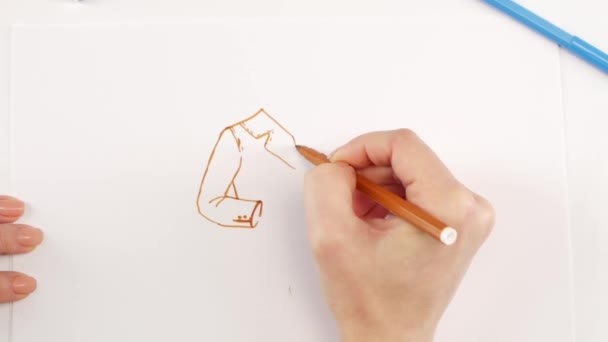 Woman drawing the jacket using brown felt-tip pen on white paper, time lapse