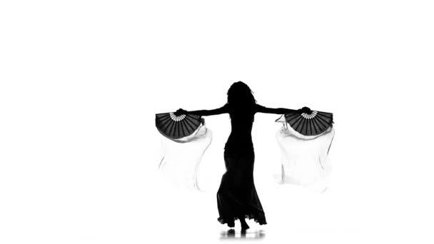 Talanted egzotikus hastáncos, hullám a haját, rajongók, csípő rázza, használja a fehér, lassú mozgás, silhouette