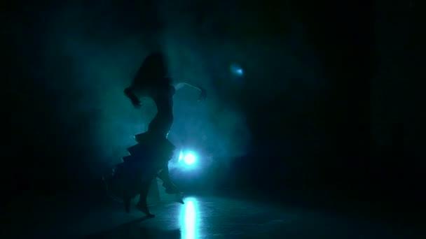 Krásné exotické břišní tanečnice žena, třes bok, černý, zpomalené, silueta, kouř