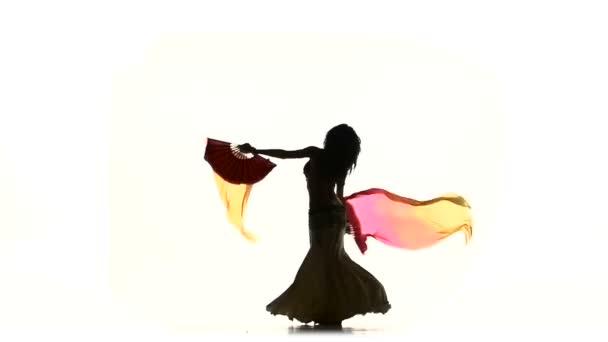 exotische Bauchtänzerinnen tanzen mit langen Fächern, wirbeln, weiß, Silhouette, Schatten, Zeitlupe