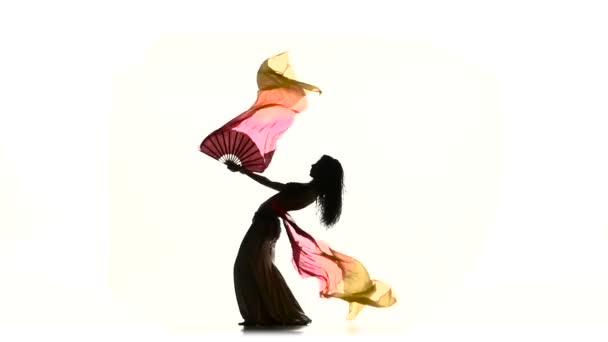 exotische Bauchtänzerin tanzt mit langen Fächern, Kurven, weiß, Silhouette, Schatten, Zeitlupe