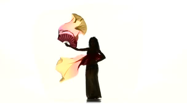 Junge exotische Bauchtänzerin mit zwei Fächern, auf Weiß, Silhouette, Schatten, Zeitlupe