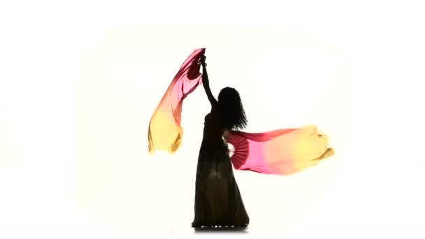 exotische Bauchtänzerinnen tanzen mit zwei langen Fächern, auf Weiß, Silhouette, Schatten, Zeitlupe