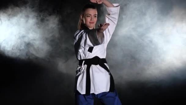 Karate demonstration performance. Black