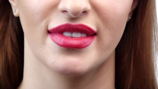 Woman smile. Teeth whitening. Dental care. Close up. Slow motion