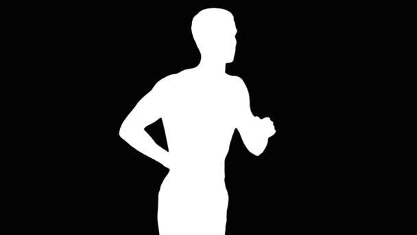 Běžící muž. Silhuette. Alfa kanál. Zpomalený pohyb