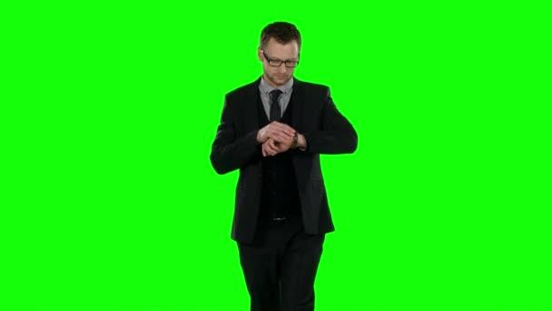 Obchodní muž. Zelená obrazovka