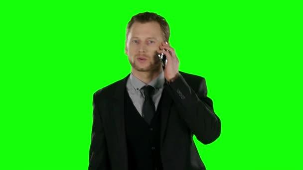 Businessman cell phone. Green screen