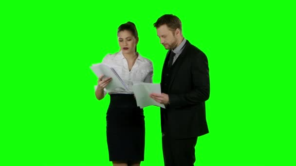 Business conflict. Green screen