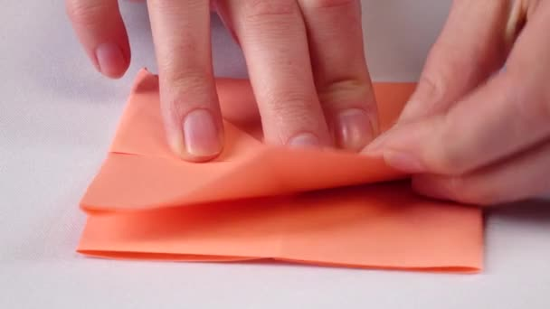 Hands making origami. White. Close up. Time lapse
