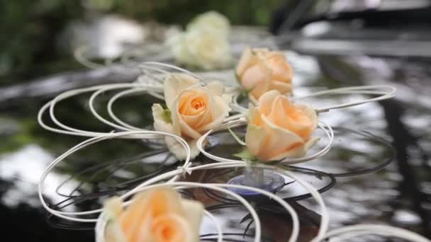Wedding car decorated with flowers bouquet
