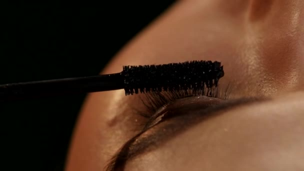 Makeup artist applying mascara. Black. Closeup