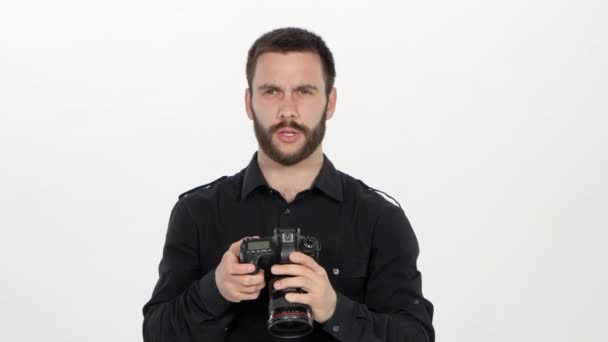 Photographer holds the photography. White