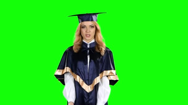 Student graduate isolated confident talking interview. Green screen