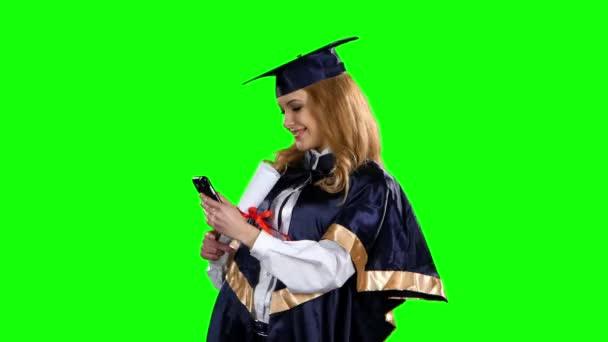 Absolvent fotografie s diplomem. Zelená obrazovka