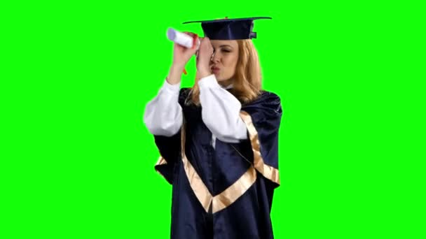 High school graduation. Obtaining a diploma. Graduate. Green screen