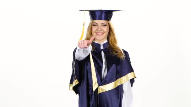 Graduate showing thumbs up and winking. White