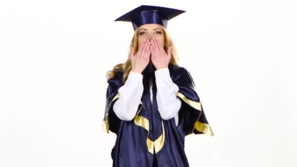 Portrait of female graduate student sends an air kiss. White