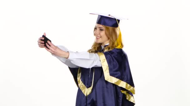 Selfe photo. Graduate. White