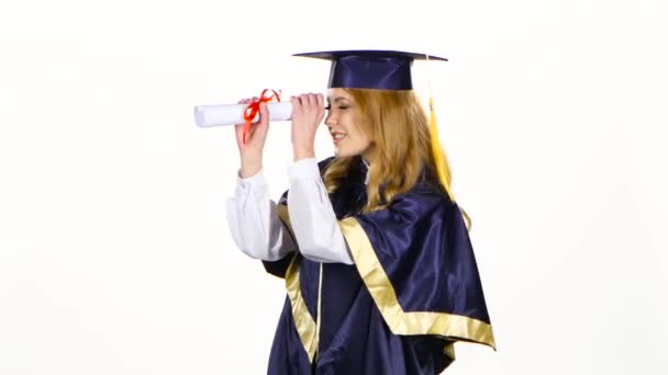 Woman with graduation gown and diplom. White